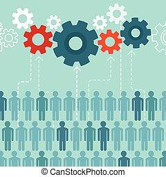crowdsourcing, plat, style, concept, vecteur