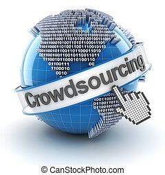 Crowdsourcing symbol with globe and cursor, 3d render, white...