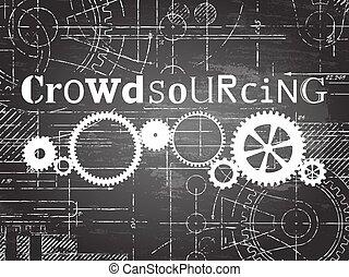 crowdsourcing, tableau noir, technologie, dessin