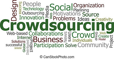 Crowdsourcing word cloud conceptual illustration