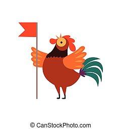 crowing, colorido, granja, carácter, ilustración, gallo, ...
