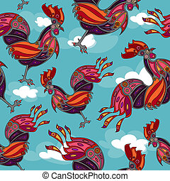 crowing rooster seamless
