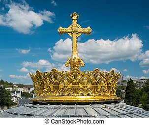 Crown and cross on a dome of the Basilica of Our Lady of the...