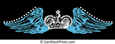 crown and flying wing with rhinestone decorated
