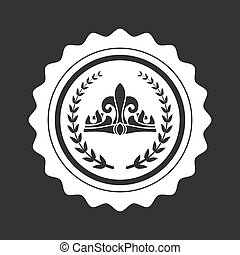 Crown and Laurel Branches on Black Round Stamp
