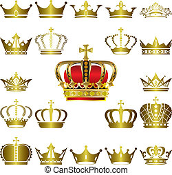 Crown and tiara icons set - Illustration vector
