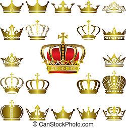 Crown and tiara icons set