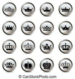 Crown and tiara silver icons set