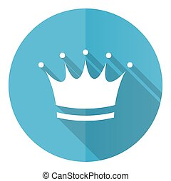 Crown blue round flat design vector icon isolated on white background
