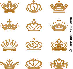Crown collection on white background
