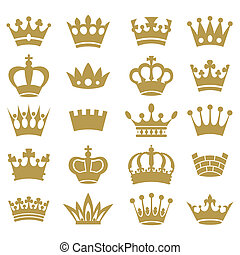 Crown silhouette collection. Vector.