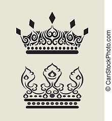 Crown Decorations 3 - Crown drawing with curl decorative...