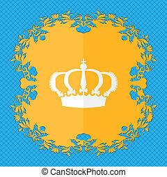 Crown. Floral flat design on a blue abstract background with place for your text.