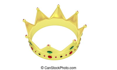 Crown rotates on white background