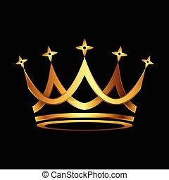 Crown gold icon vector - Crown. Gold symbol icon on black...
