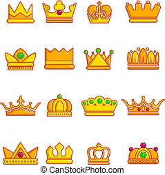 Crown gold icons set, cartoon style