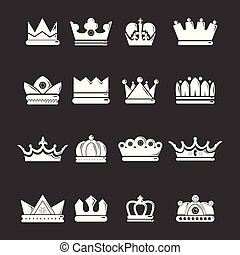 Crown gold icons set grey vector