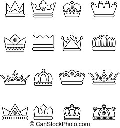 Crown gold icons set, outline style