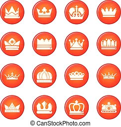 Crown gold icons set red vector