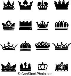 Crown gold icons set, simple style