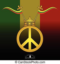 Crown gold on peace symbol with Reggae Flag Poster