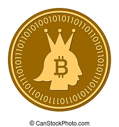 Crown golden digital coin vector icon. gold yellow flat coin cryptocurrency symbol isolated on white. Flat style. eps 10