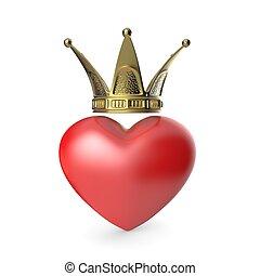 Crown heart. 3D
