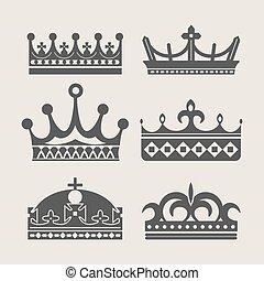 Crown heraldic royal vector icons - Crown logo of royal...