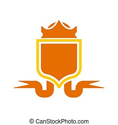 Crown Heraldic Shield. Template heraldry design element. Coat of arms of royal family and Tape