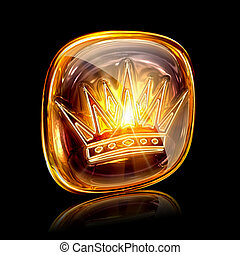 Crown icon ambe, isolated on black background