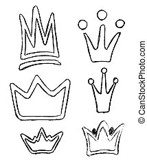 Crown icon doodle set. Hand drawn picture in outline sketch style on white background. Vector illustration