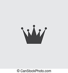 Crown icon in a flat design in black color. Vector illustration eps10
