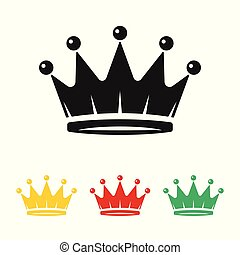 Crown Icon in different colors isolated on white background. Royal symbol for your web site design, logo, app, UI. Vector illustration