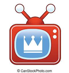 Crown icon on retro television