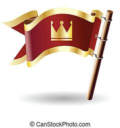 Crown icon on royal flag