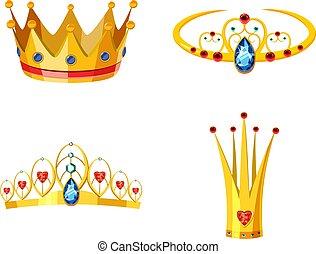 Crown icon set, cartoon style