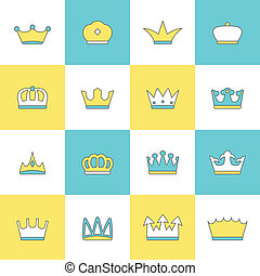 Nobility insignia embellishment flat symbols icons design collection for quality labels tags emblems abstract isolated vector illustration