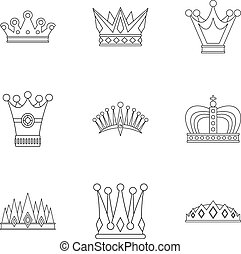 Crown icon set, outline style