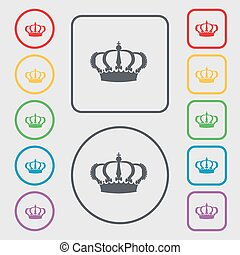 Crown icon sign. symbol on the Round and square buttons with frame. Vector