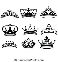 Crown icons - A vector illustration of crown icon sets