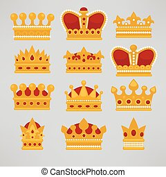Crown icons flat royal set.