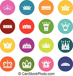 Crown icons many colors set