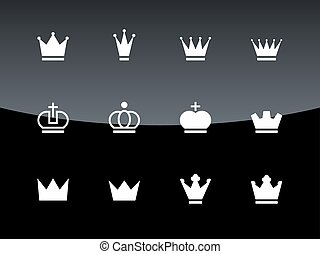 Crown icons on black background. Vector illustration.