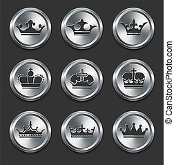 Crown Icons on Metal Internet Buttons