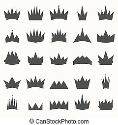 Crown icons set. Heraldic design elements