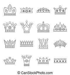 Crown icons set, Outline style
