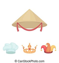Crown, jester's cap, cook, cone. Hats set collection icons in cartoon style vector symbol stock illustration web.