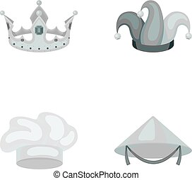 Crown, jester's cap, cook, cone. Hats set collection icons in monochrome style vector symbol stock illustration web.