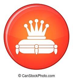 Crown king icon, flat style