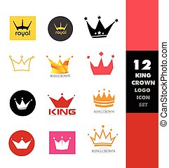 Crown logo icon set
